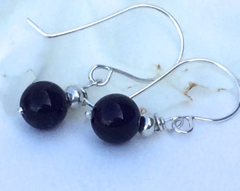 Amethyst and Silver Earrings - Sterling Silver Hook Earrings with Amethyst Gemstone