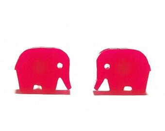 Elephant Earrings in Grey or Hot Pink, Elephant Stud Earrings, Elephant Jewellery, Elephant Studs, Novelty Earrings, Cute Earrings