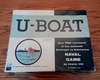 Vintage U-Boat Realistic Naval Game by Avalon Hill (1961)