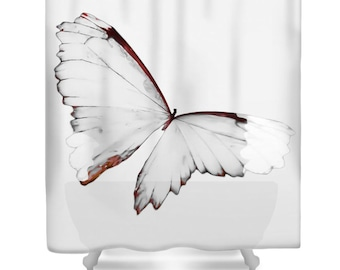 Grey Butterfly Shower Curtain Butterfly White Gray Orange Butterfly Bathroom Decor