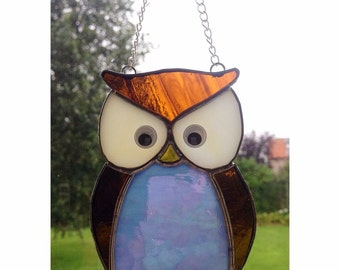 Stained glass blue owl Suncatcher decoration gift