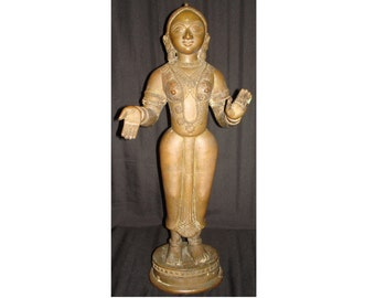 FREE SHIPPING-Antique-Original-Bronze-Female-Deity-Statue-Over 17 Inches-Heavy Over 30 Pounds