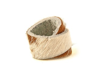 Cow Ring -  Cow Print Ring - Leather Ring - HN0600