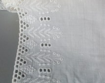 Soviet vintage fabric Embroidery Cotton wide lace White batiste trim open work cut work edging 8 yards long