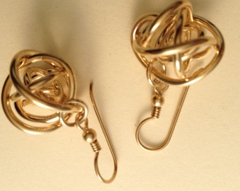 14k  gold filled large knot dangle earrings.