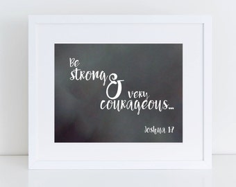 Joshua 1:7 Scripture Wall Art Instant Download 8x10
