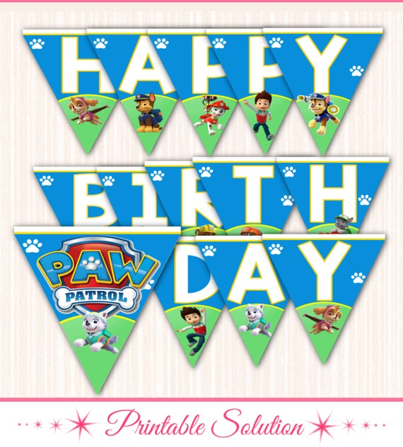 Paw Patrol Banner Paw Patrol Birthday Banner By