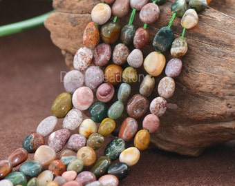 Necklace Bracelet Making Beads Natural Indian Agate Semi Precious Stone Pebble Nuggets Beads