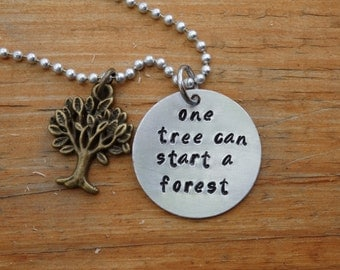 Handmade Hand Stamped Charm Necklace One tree can start a forest, Charm, Tree necklace, inspirational