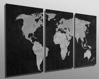 Multi panel art etsy metal print black and gray world map 3 panel split triptych gumiabroncs Image collections