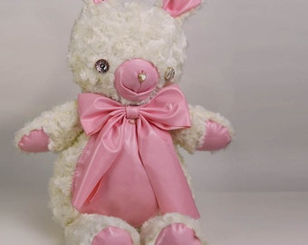 Cream Bunny Bear Stuffie Plush Purse