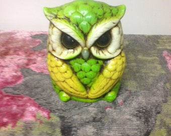 Vintage Ceramic Owl Coin Bank
