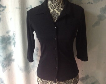 Vintage A. Byer California Brand Black 3/4 Sleeve Blouse Size Small