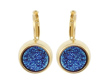Gold Druzy Earing, Gold Earing, druzy jewelry, druzy Earing gold, round Earing, circle Earing, stone Earing, Women's Gift for Her, Mom Gift