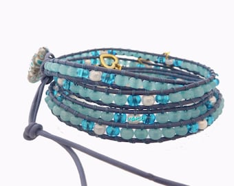 Wrap Bracelet with leather and seed beads
