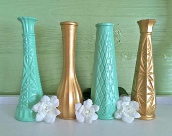 Mint Gold Decor, Mint Gold Wedding, Mint Gold Baby Shower, Home Decor, Mint Gold Dorm, Gold Decor, Gold Vases, Centerpieces, Gender Reveal