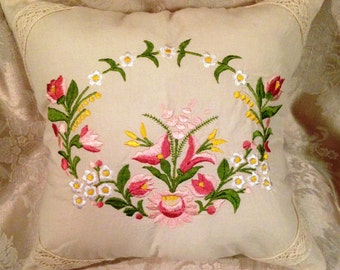 Vintage Hand Made Pillow Cover, Embroidered Pillow Cover, Embroidered Pillow Case
