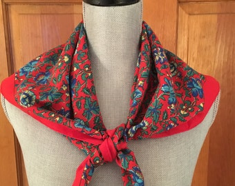 Vintage Silk Floral Scarf, Classic Floral Scarf, Red Scarf, Sweater Scarf, Jacket Scarf