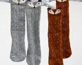 Fox socks-knee high socks-boot socks-girls socks-kids accessories-boys socks- leg warmers-fox highs knee-brown fox socks-toddler fox socks