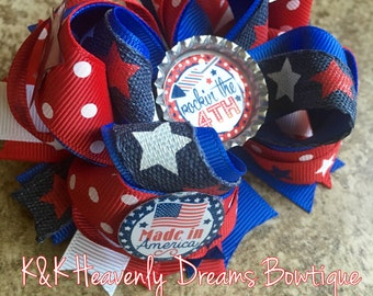 Fourth of July hair bows, Fourth of July bows hair bows, bows, red white and blue hair bows, bows, hair accessories, blue hair bow, red bow