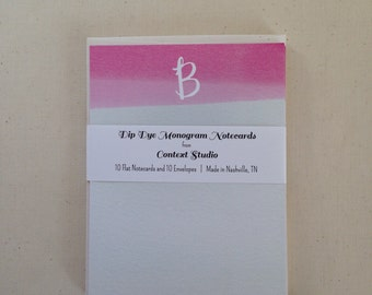 Monogram Notecard Set of 10 with Envelopes, B, Dip Dye