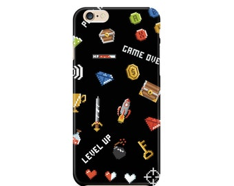 8 bit video game cell phone case, Black, Icons, Gaming, Computer, Geek, Nerd, Apple iphone, Samsung Galaxy, Note, 6, 6 plus, 5, 4 etc