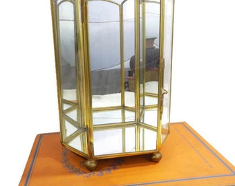 Vintage Tall Gold Mirrored Box, Mirrored Display Box, Succulent Box, Gold Box, Mirrored Glass Box, Trinket Box, Tall Box, Display Box