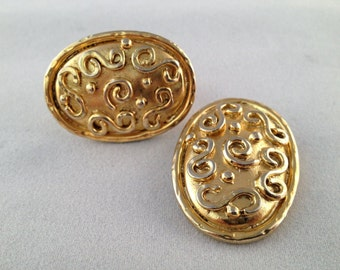 Eduard Rambaud Oval Swirl Paris 14 kt Gold Plated Earrings