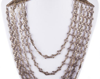 Sterling Silver Filigree Chain Bib Necklace