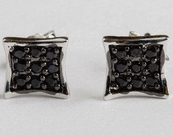 Black Cubic Zirconia Pave Square Stud Earrings