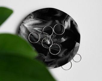 Dark marble jewelry tray. Minimal home decor. Ring dish.