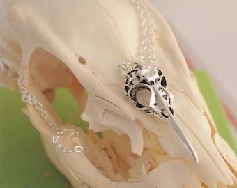 Sterling Silver Bird Skull Necklace