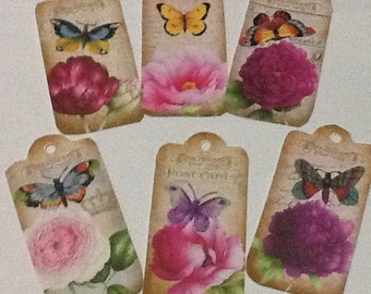6 Butterly and Flower Tag