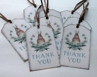 8 Rabbit with Blue Daisies Thank You Tags