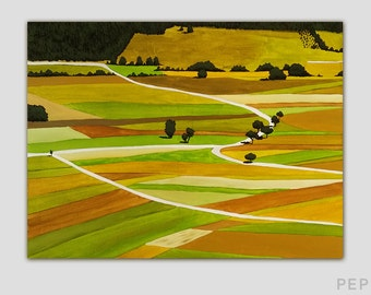 "Country Farmscape Art, 18"" x 24"" Acrylic on Canvas, Ready to Hang, Green, Yellow, Farmland Painting, Midwest"