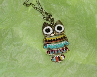 antique bronze and enamel owl necklace