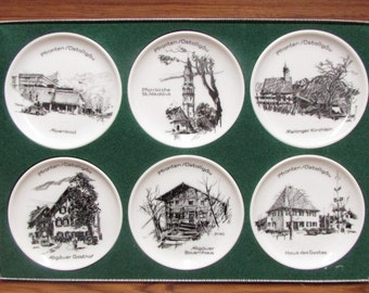 Vintage Mini Decorative Plates, Set of 6 Plates of Field Pfronten Ostallgäu in Germany, 6 Unique Porcelain Beauties from Germany, Gift Idea