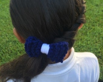 Back to School Knit Bow Hair Tie
