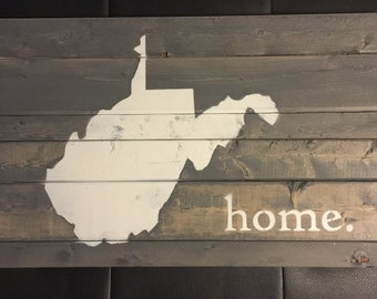 West Virginia Wood Sign Home