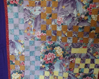 Asian quilt, Oriental quilt, Lap quilt, couch throw, homemade quilt