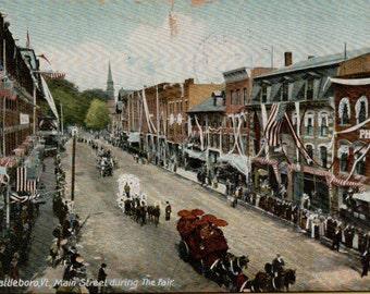 Brattleboro, Vermont...Main Street during the Fair...1906 Antique  Postcard... Published by Geo. E. Fox, Brattleboro Vt.