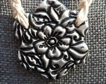 Clay Flower Pendant Hemp Necklace