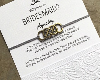 Will you be my Bridesmaid gift, wish bracelet, Make a wish, gift card,  Personalized bridesmaid gift, be my Bridesmaid proposal, B3