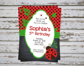 Ladybug invitation, Ladybug Thank You Card, Ladybug party, Ladybug Birthday Invite
