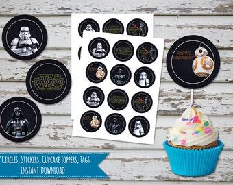 Sale! Star Wars Cupcake Toppers Star Wars Birthday Darth Wader Toppers  Star wars Favor Tags BB-8 Favor Tags INSTANT DOWNLOAD