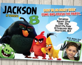 ANGRY BIRDS Invitation Birthday Party angry birds Invite you print Digital File angry pigs Invitation