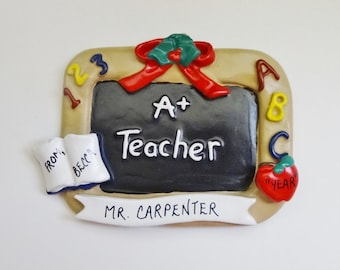 Personalized Teacher Gift Ornament - Teacher Christmas Ornament - Personalized Best Teacher Ornament
