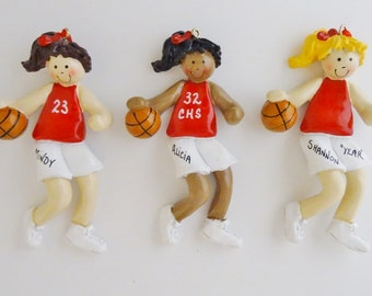Personalized Girl Basketball Player Ornament - Girl Basketball Player Ornament with Red - Blue - Green - Purple or Black Uniform