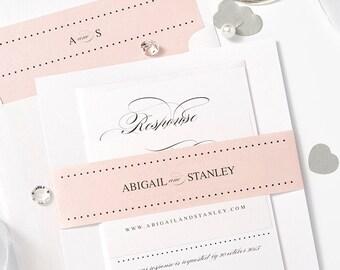 Blush wedding invitation set Sample, Blush invitation, or any colours, Mr & Mrs, Personalised Sample pearlescent, belly band, envelope liner