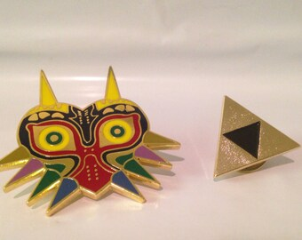 The Legend of Zelda Majora's Mask and Triforce Pin Set